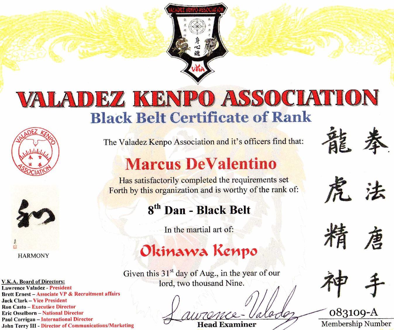 Devalentino Karate Certificates